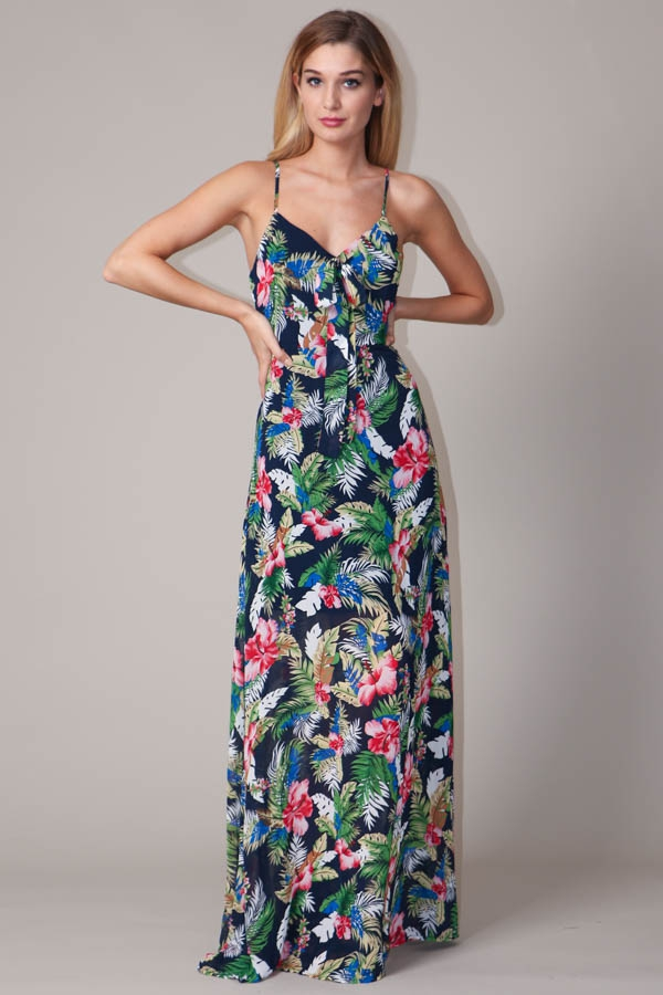 Tropical Print Maxi Dress - orangeshine.com