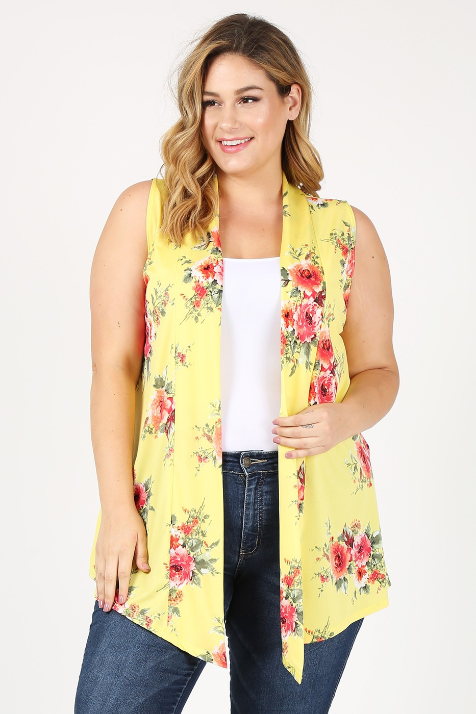 PLUS OPEN FRONT PRINTED CARDIGAN - orangeshine.com