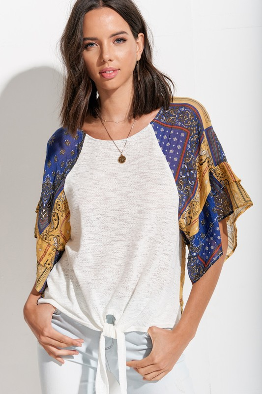 Paisley Ruffled Sleeve Tie Front Top - orangeshine.com