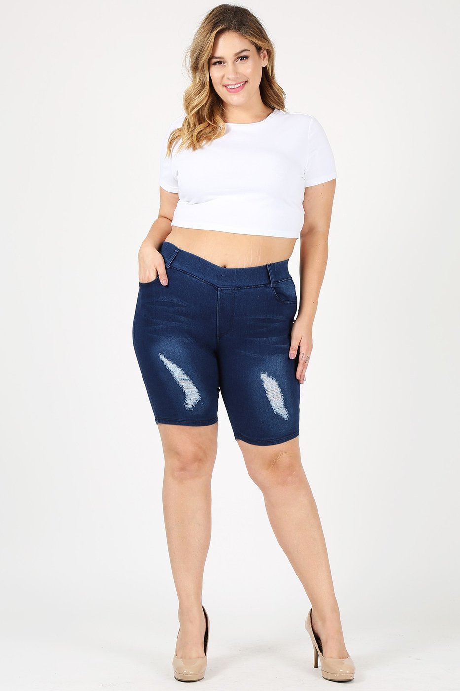 Plus Hi-Waist Distressed Bermudas - orangeshine.com