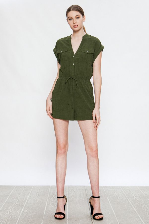 UTILITY ROMPER WITH FRONT POCKETS - orangeshine.com