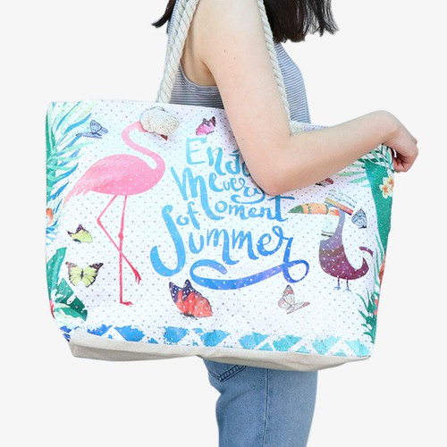 Summer Tropical Rhinestones Tote Bag - orangeshine.com