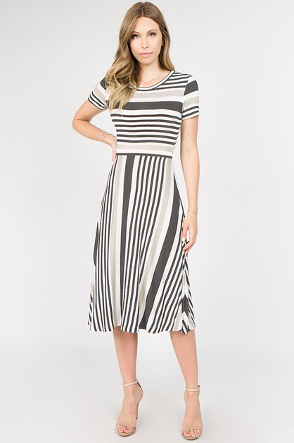STRIPE MIDI DRESS - orangeshine.com