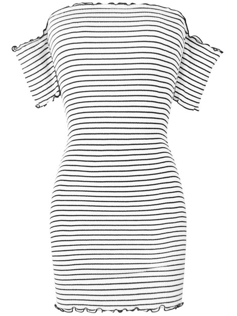 Scrunchy Stripe Off Shoulder Dress - orangeshine.com