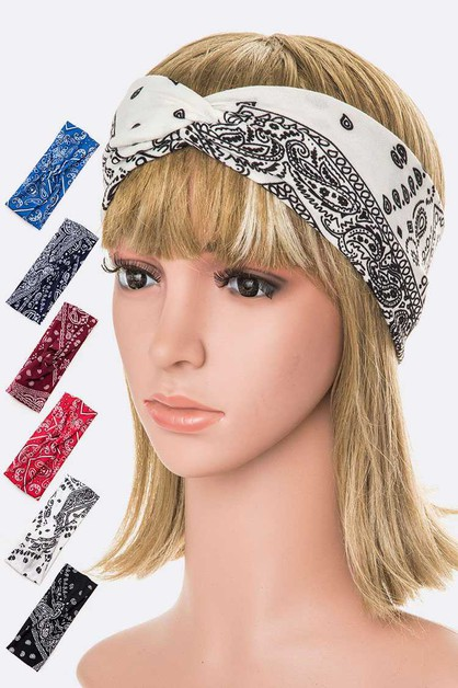 Bandana Print Stretch Headband Set - orangeshine.com