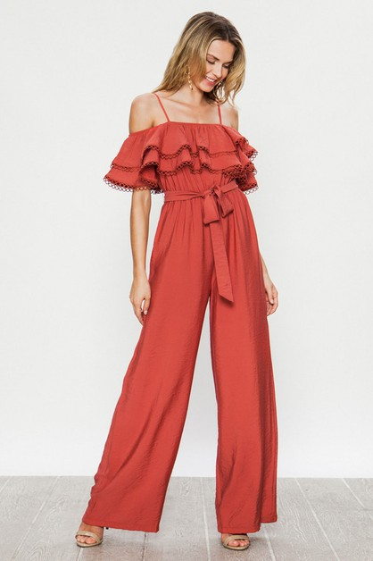 OFF THE SHOULDER W RUFFLES N BELT - orangeshine.com