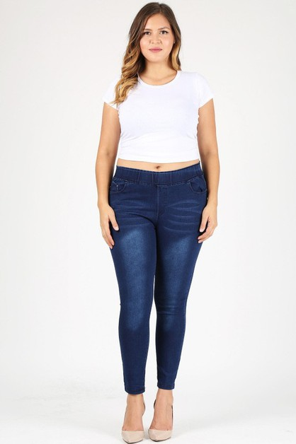 Plus Size 5 pockets classic Jeggings - orangeshine.com