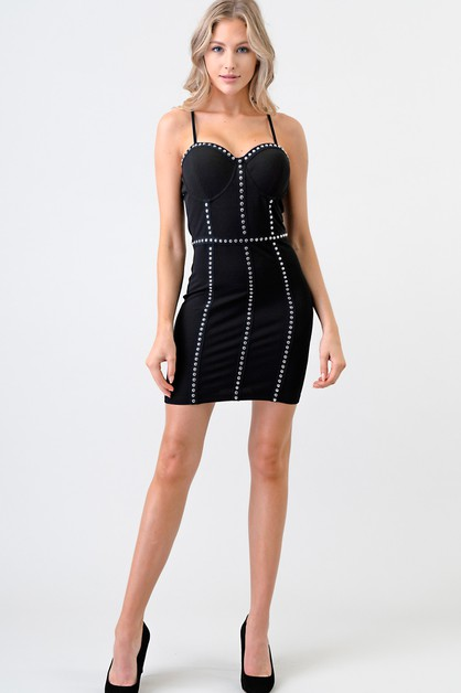 STUD EMBELLISHED BODYCON DRESS - orangeshine.com