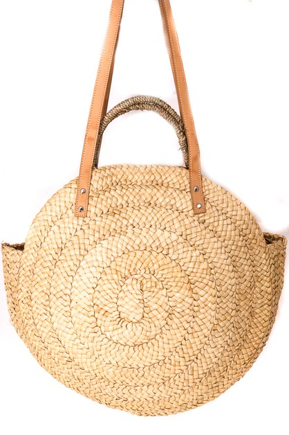 Round Straw Woven Tote Bag - orangeshine.com