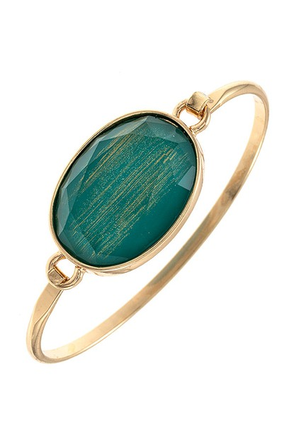 FACETED STONE ACCENT BANGLE BRACELET - orangeshine.com