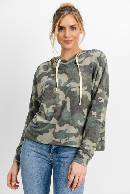 Camo Print French Terry Hooded Top - orangeshine.com