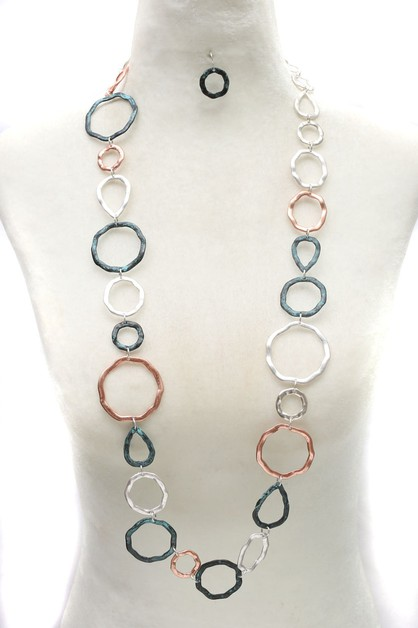 METAL LINK LONG NECKLACE SET - orangeshine.com