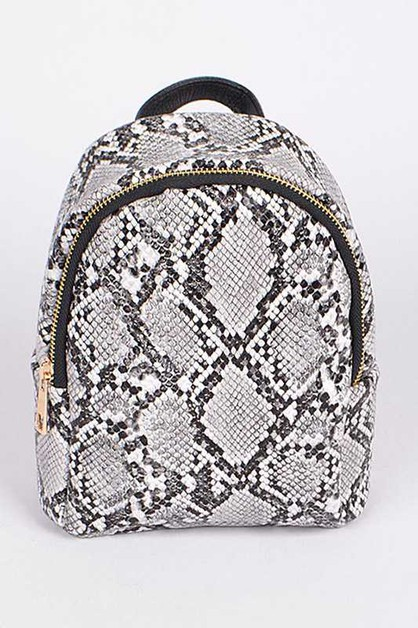 Snake Print Icon Mini Backpack - orangeshine.com
