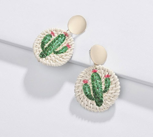 Cactus  Braided Rattan Earring - orangeshine.com