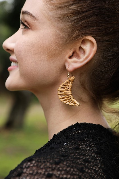Crescent Moon Rattan Earrings - orangeshine.com