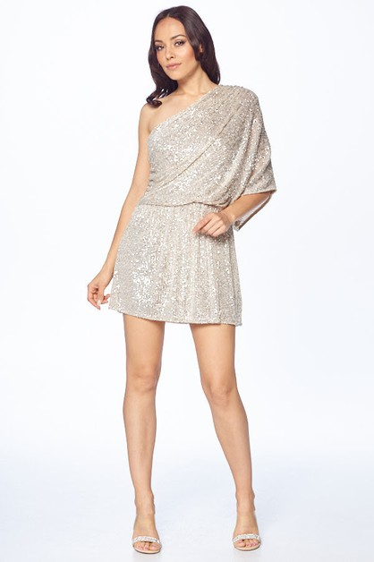 One Shoulder Short Sequin Dress - orangeshine.com