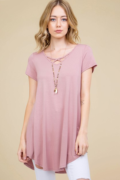 SOLID LATTICE V-NECK ROUND HEM TUNIC - orangeshine.com