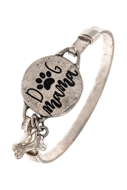 DOG MAMA ETCHED BANGLE BRACELET - orangeshine.com