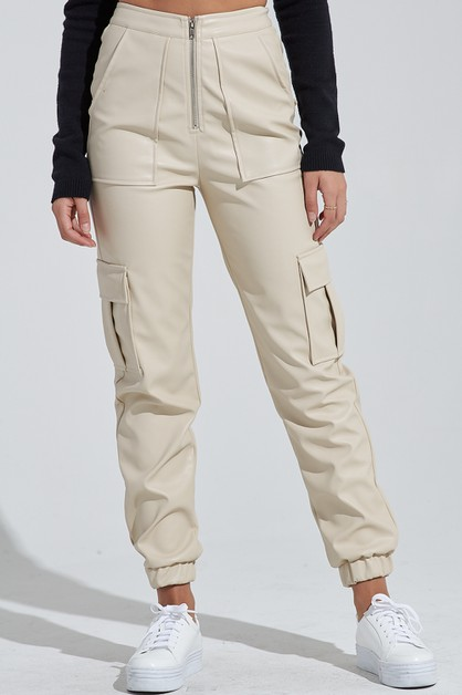 PLEATHER JOGGER PANTS - orangeshine.com