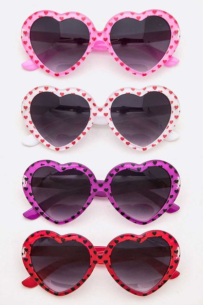 Printed Heart Shape Kids Sunglasses - orangeshine.com