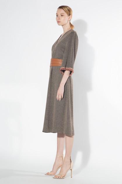 49e5c84c39 Knit Dress with Contrast Fringe - orangeshine.com