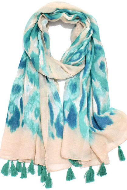 Abstract Watercolor Print Scarf Shaw - orangeshine.com