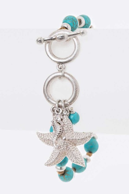 Starfish Charm Hand Knotted Toggle B - orangeshine.com
