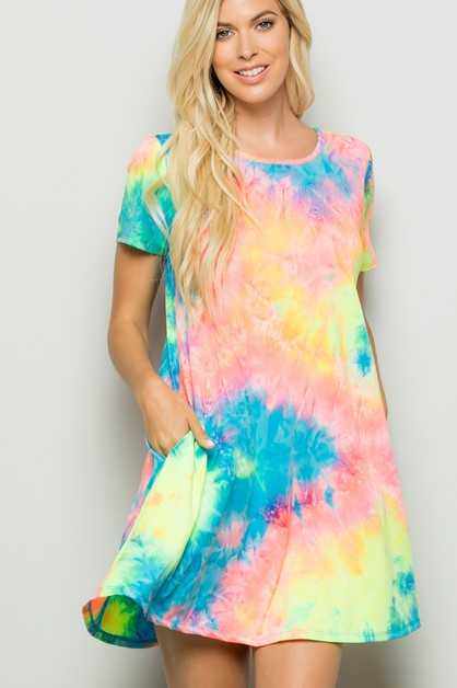 TIE DYE DRESS WITH SIDE POCKET - orangeshine.com