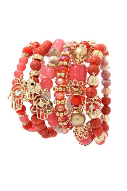 CHARM BEADED STRETCH BRACELET - orangeshine.com