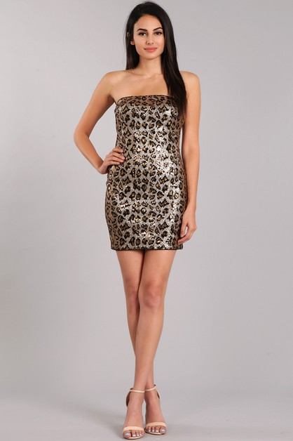 Cheetah Design Sequin Mini Dress - orangeshine.com