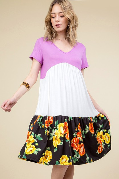 FLORAL PRINT COLOR BLOCKED MIDI SWIN - orangeshine.com