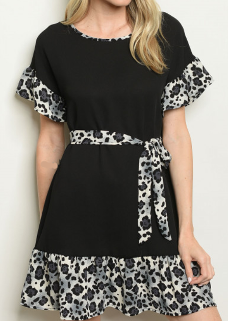 Animal Prints Contrast Dress - orangeshine.com