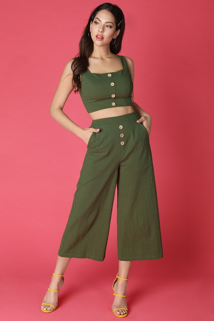 Linen Square Neck Culottes Set - orangeshine.com