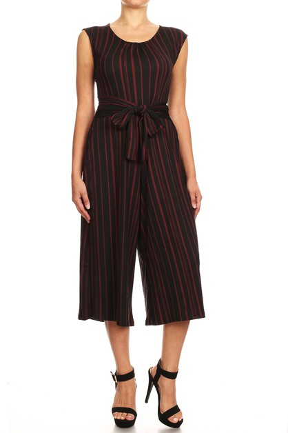 Black Red Stripe Crop Jumpsuits boho - orangeshine.com