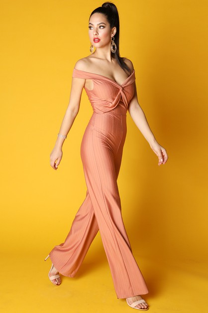 Off Shoulder Knotted Jumpsuit - orangeshine.com