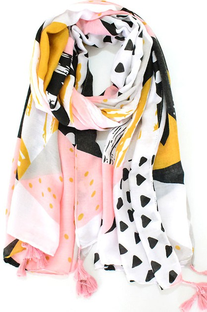 Pastel Color-blocked Patterns Scarf  - orangeshine.com