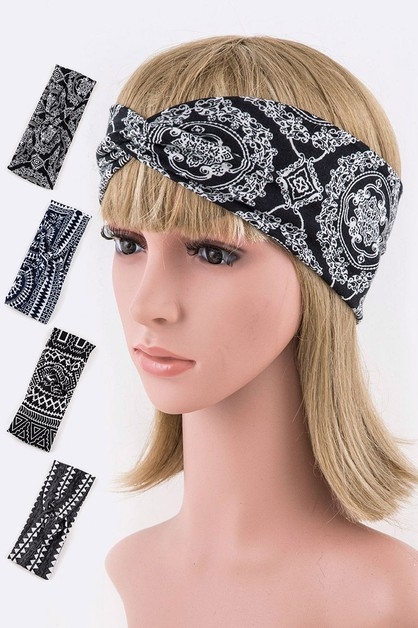Tribal Pattern Stretch Headband Set - orangeshine.com