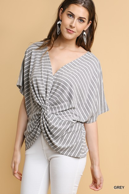 Striped Butterfly Sleeve V-Neck Top - orangeshine.com
