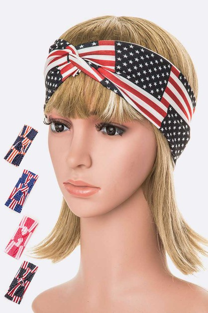 American Flag Printed Headband Set - orangeshine.com