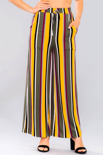 Multi Striped Wide pants - orangeshine.com