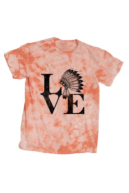 LOVE INDIAN HEAD TIE DYE SHIRT - orangeshine.com