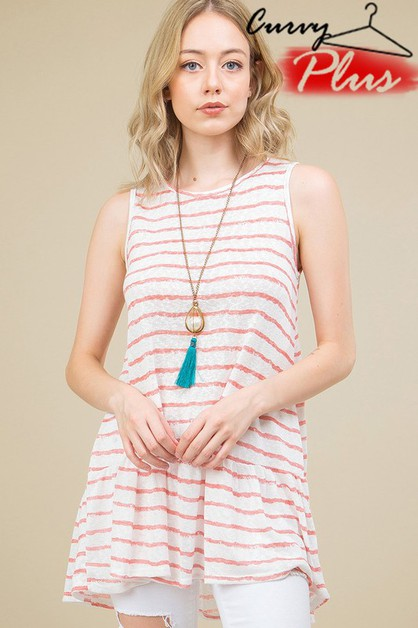 STRIPED KNIT SLEEVELESS RUFFLE HEM T - orangeshine.com