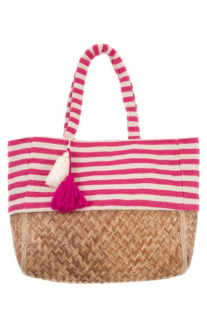 STRIPE PATTERN WITH TASSEL STRAW TOT - orangeshine.com