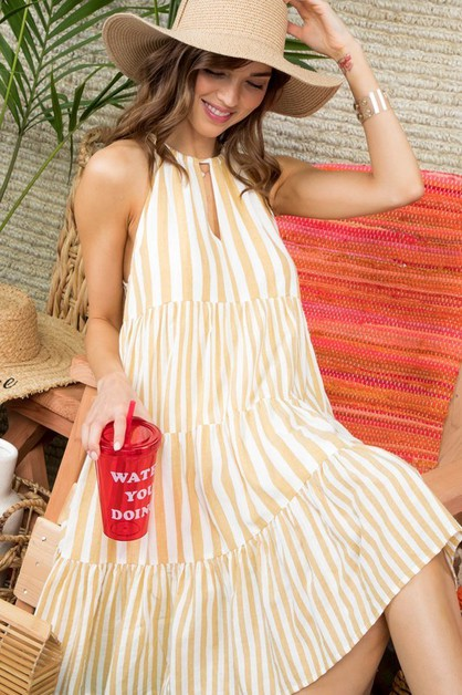 Halter Neck Tassel Stripe Tiered Dre - orangeshine.com