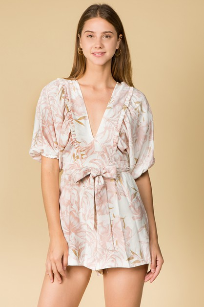 RUFFLE DETAIL V NECK SHORT ROMPER - orangeshine.com