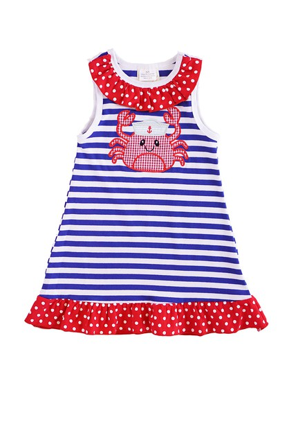 Sailer crab applique ruffle dress  - orangeshine.com