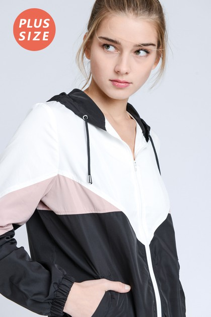PLUS SIZE Color Block Windbreaker - orangeshine.com