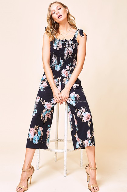 TIE SHOULDER FLORAL JUMPSUIT - orangeshine.com