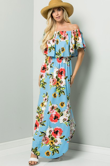 Floral Maxi off shoulder dress - orangeshine.com
