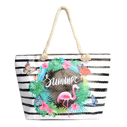 Striped Summer Tropical Tote Bag  - orangeshine.com